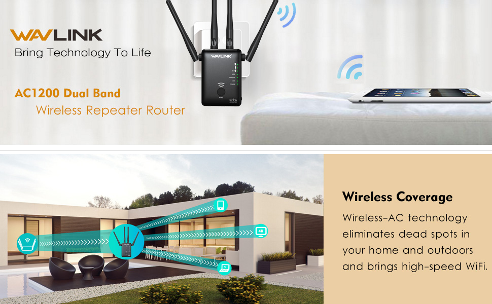 Simple Setup AOLIYO 1200Mbps WiFi Repeater Wireless Signal Booster Black 2.4 /& 5GHz Dual Band WiFi Extender with Ethernet Port 4 Antennas 360/° Full Coverage