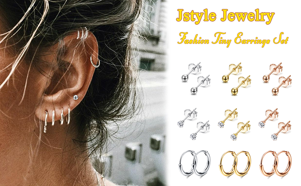 Jstyle 9Pairs Stainless Steel Tiny Cartilage Earrings Studs for Women CZ Balls Tragus Helix Endless Hoop Piercing Earring Set
