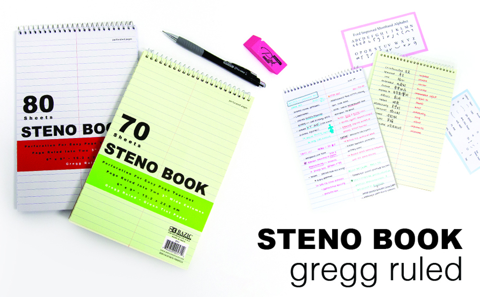 """4 BAZIC Steno Notebook 6/"""" X 9/"""" Green Tint Gregg Ruled Office Notepad Perforated"""
