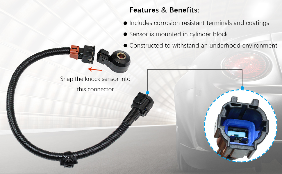 Knock Sensor 22060-30P00 with Harness Wire 24079-31U01 Pair kit fit for Infiniti Mercury Nissan 2206056E11