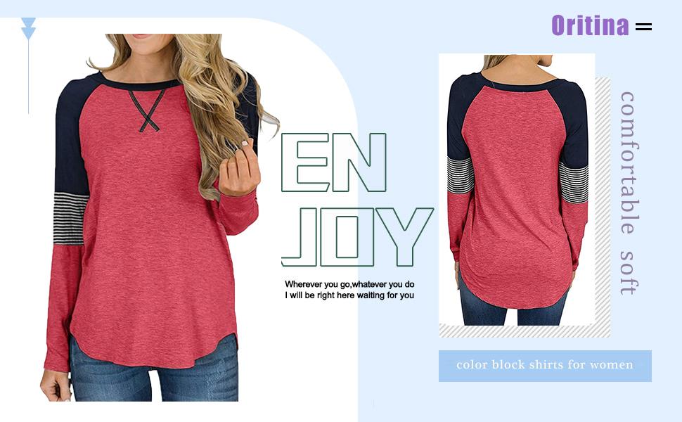 Oritina Women Casual Shirt Long Sleeve Color Block Round Neck Tunic Tops Blouse