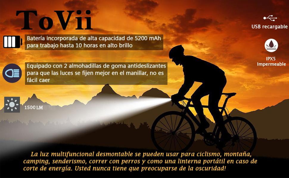 ToVii - Luces Bicicleta Delantera LED y Luz Bici Trasera ...