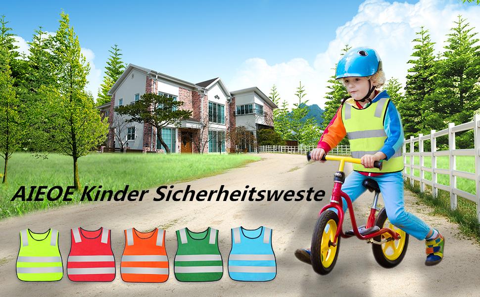 Aieoe 10 Stück Kinder Reflektierender Warnweste Atmungsaktive Sicherheitsweste Sport Laufen Wandern Reflektorweste Bekleidung