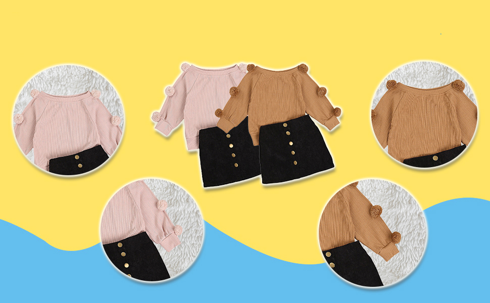 high quality sweater skirt 2 Piece FALL OUTFITS for toddler girls
