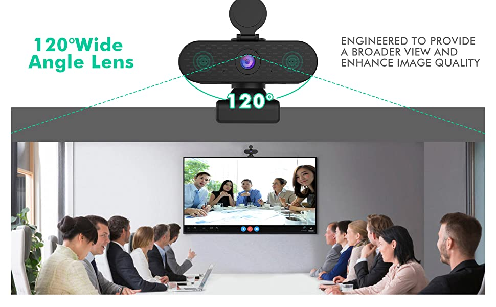 PC Webcam Wide Angle View with Privacy Cover Slide for Live Streaming Conference Business Meetings