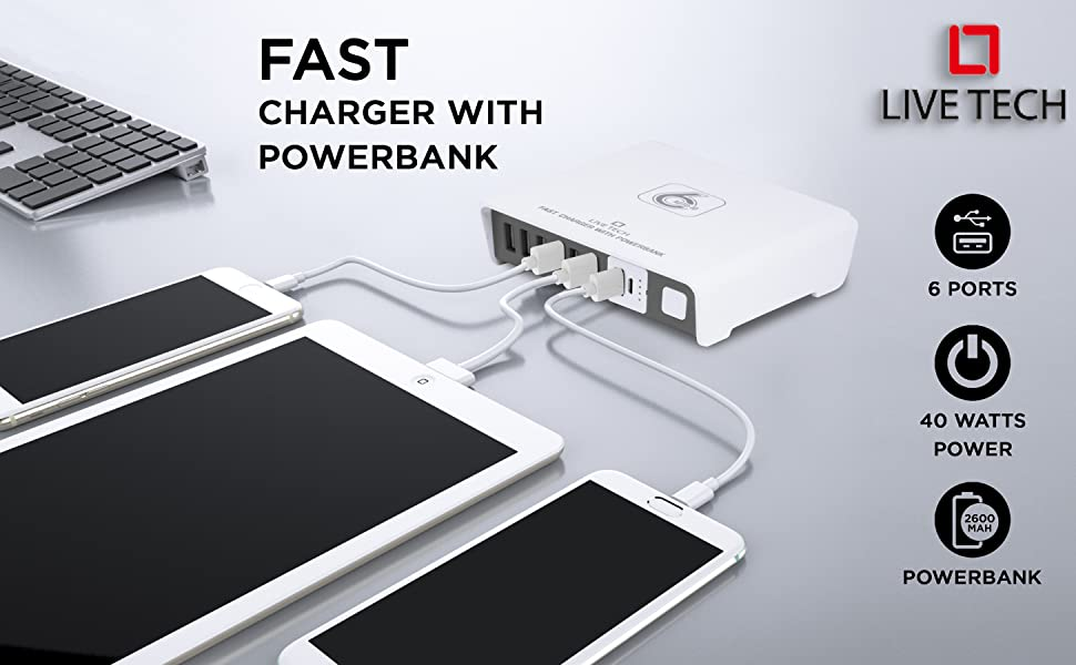 Live Tech Power Charge with 6 USB Ports,1 Portable Powerbank 40W Fast Charger Adapter
