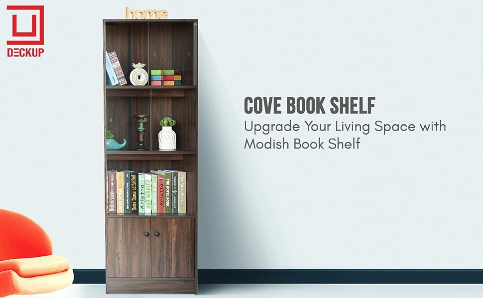 DeckUp Cove Book Shelf/Display and Storage Unit (Walnut, Matte Finish SPN-FOR1