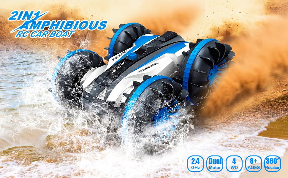 Amphibious RC Car for Kids blue