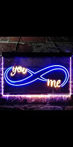 ADVPRO LED Neon sign light-ing Dual-color Love Lovers Valentine You and Me Eternal Forever Infinity
