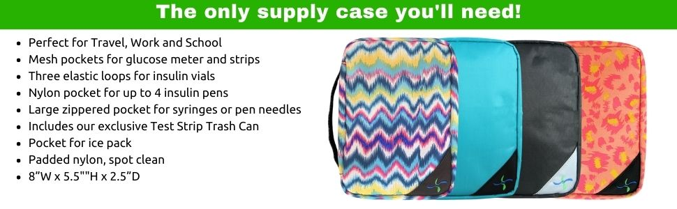 Insulated Diabetic Supply Case. Organize diabetic supplies and insulin pump supplies.