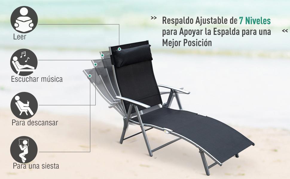 Outsunny Tumbona Plegable Respaldo Ajustable a 7 Niveles con Almohada Textilene Resistente Relax en Exterior Piscina Terraza Camping 137x63.5x100.5cm ...