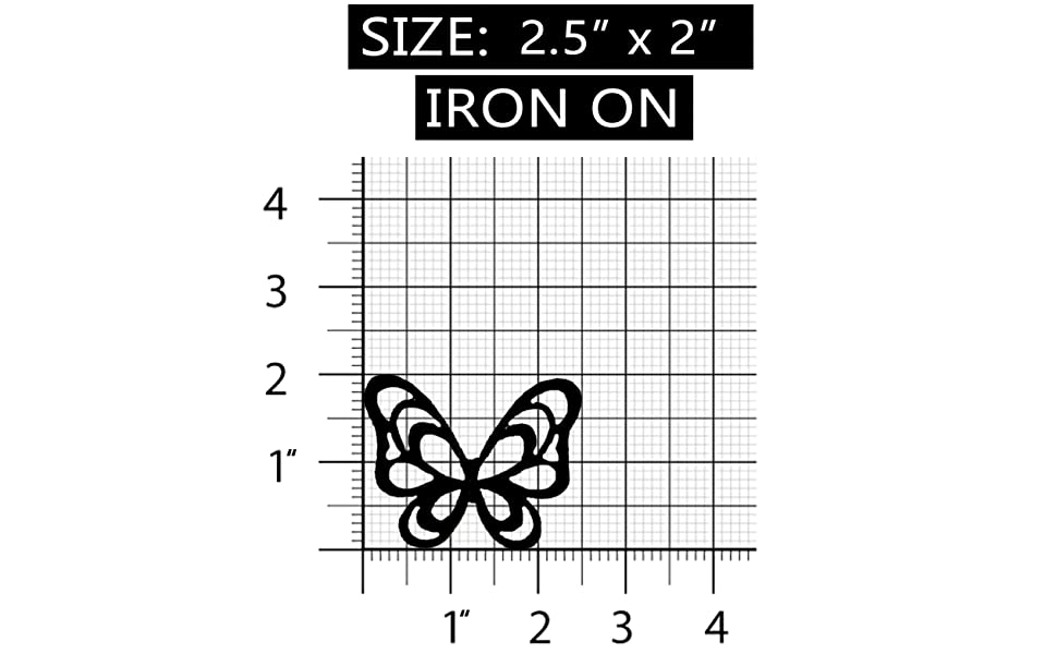 ID 2015 Butterfly Outline Patch Pastel Garden Insect Embroidered IronOn Applique