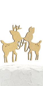 gold buck or doe figures cake topper