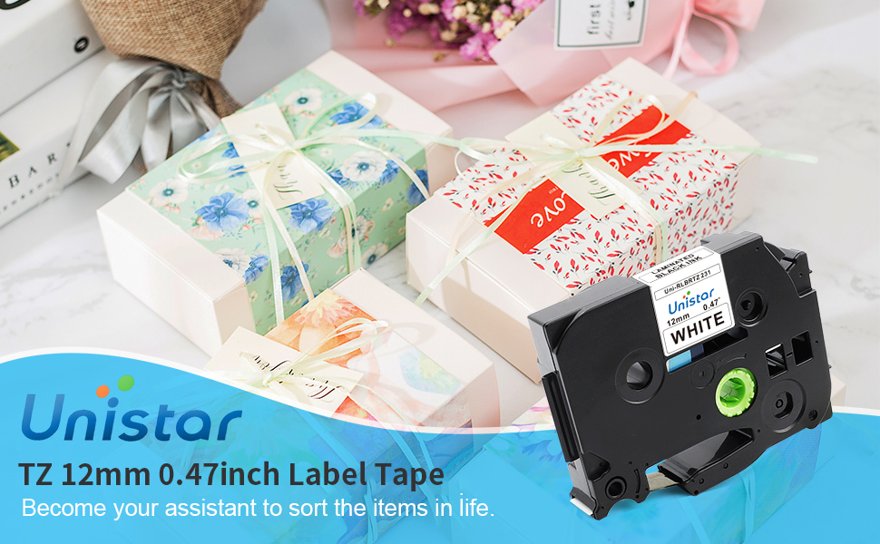 Amazon Com Unistar Compatible Label Tape Replacement For Brother Ptouch 12mm 0 47 Inch Laminated Black On White Tape Tze 231 Tze231 Tz 231 For Label Maker Pt D210 Pt D400 Pt D600 Pt 1280 26 2 Feet 10 Pack