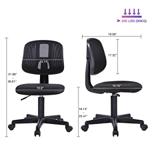 size - Novelland Ergonomic Adjustable Back Office Swivel Task Chair, Breathable Mesh Desk Chair With Lumbar Support Swivel Rolling Executive Adjustable Task Chair For Student Kids Study