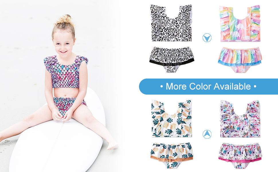 Toddler Girls Swimsuits Two-Pieces Flutter Sleeve Bathing Suits