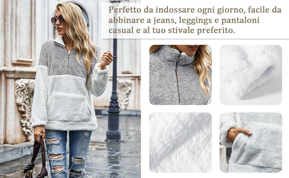 Donna Sweatshirt Maglione Oversize Pullover Felpa