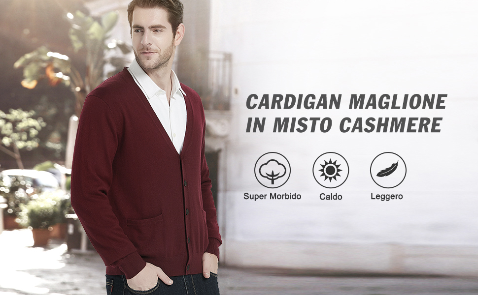con Bottoni e Tasche in Lana Cachemire Kallspin Maglione Cardigan da Uomo con Scollo a V