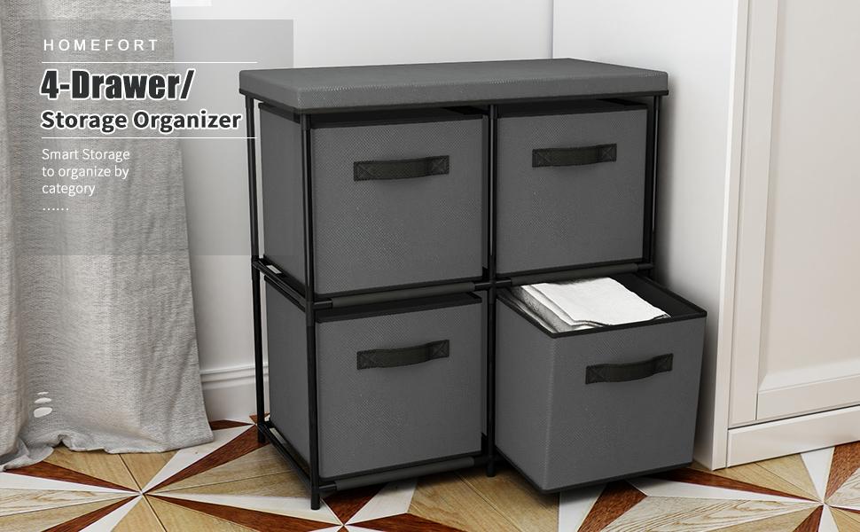 Grey HOMEFORT Dresser Storage Tower,4-Drawer Storage Organizer,Multi-bin Drawer Cabinet with Metal Frame,Dustproof Fabric Bins for Bedroon,Closet,Entryway and Hallway,25 W x13.2 D x25.2 H