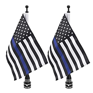 Blue Thin Line USA Flag Flagpole Mount for Harley