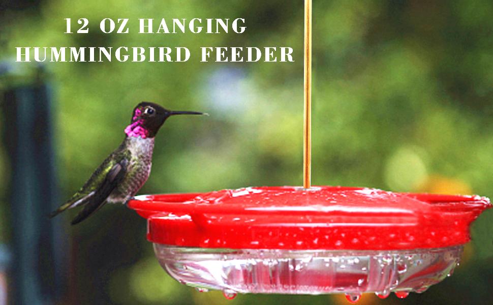 Juegoal 12 oz Hanging Hummingbird Feeder