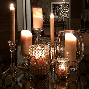 Little Bee of Connecticut Hand Rolled Beeswax Candles Elegant Dinner Glowing