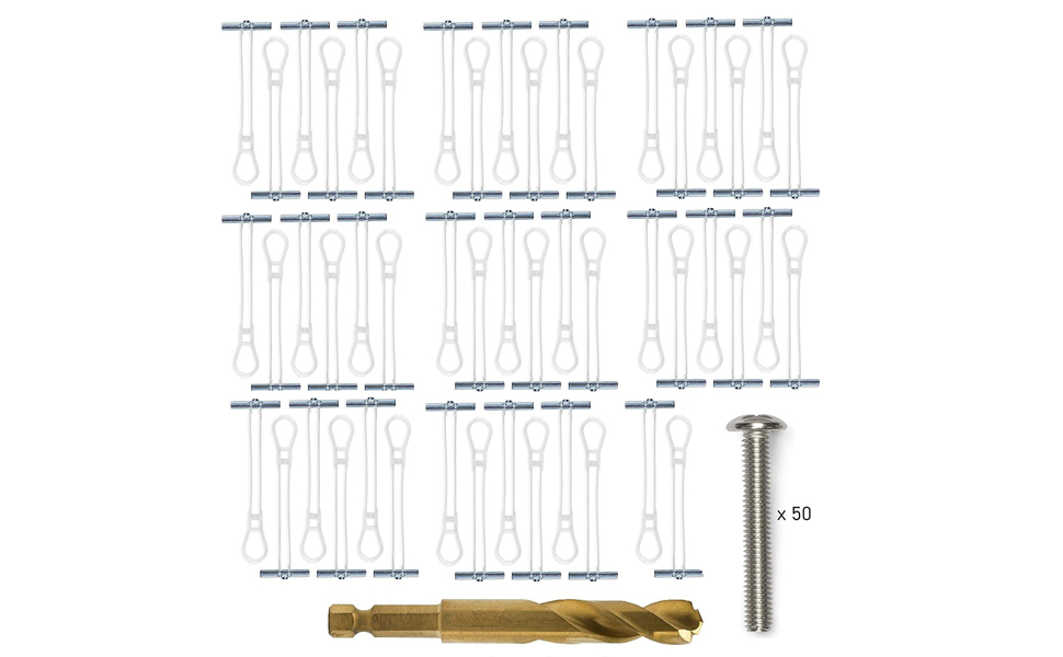 90lb Elephant Anchors 50 Anchors + 50 Screws + 1 Titanium Drill Bit