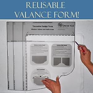 Traceable Reusable valance design form make DIY kids bedroom nursery playroom window valances