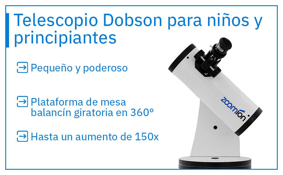 Zoomion Cassini 76//300 Dobson astron/ómico Telescopio Reflector Completo para ni/ños y Principiantes con /óptica Potente y Accesorios