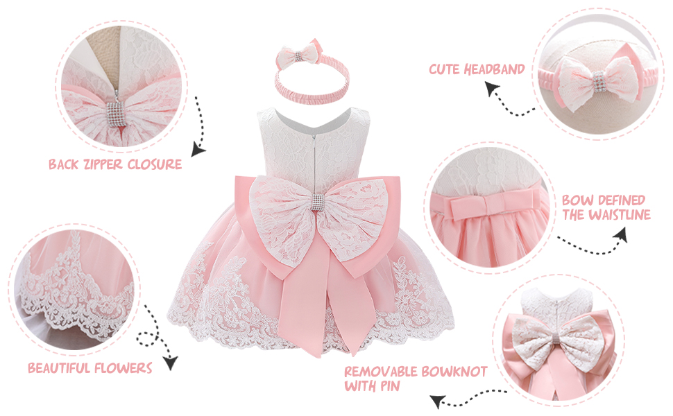 Lace Flower Girls Tutu Dress for Kids Baby Christening Baptism Communion Birthday Party Formal Wedding Dresses+Headwear