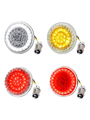 2 PCS Smoke Lens Cover Compatible for Harley Davidson Softail Dyna Sportster Touring Amazicha 2 Inch LED Turn Signals Light 1157 Bullet Amber Turn Signal Bulb White Running Light