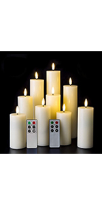 Set of 9 flameless candles