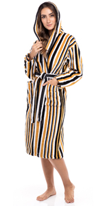 Women's Luxury Robes 100% Terry Cotton Hooded Bathrobe Spa Robe Multi Color Striped Bath Robes