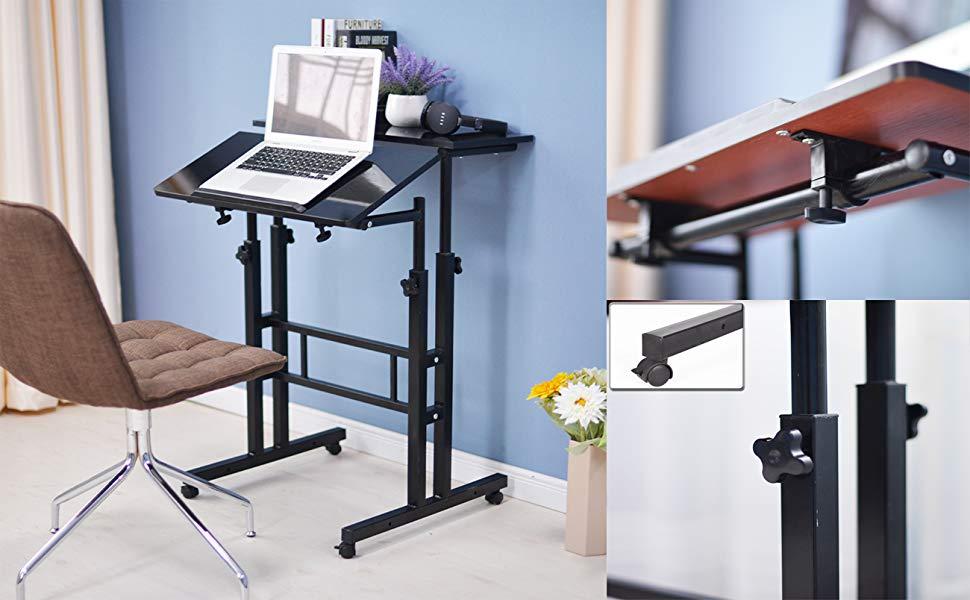 l scrivania aptop,101-2-BK-N soges Stand Up Desk Regolabile Scrivania del Computer Workstation Mobile Desktop Sit-Stand Scrivania in Piedi