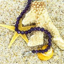Mystic Self Purple Amethyst Bracelet Gemstone Beaded Crystal Healing Chakra Birthstone Jewelry Women