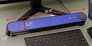 GOgroove SonaVERSE UBR USB Computer Soundbar Desktop Speaker Mini Sound Bar
