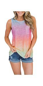 MODARANI Sleeveless Tank Top for Women Casual Loose Fitting Shirts V Neck unics