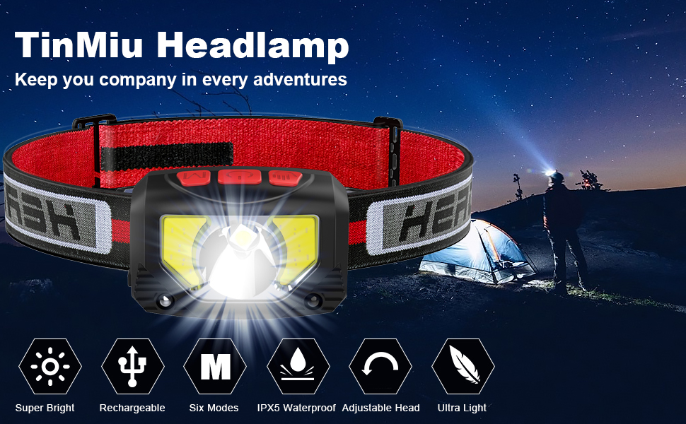 2-PACK 1000 Lumen Super Bright USB Rechargeable LED Headlamp Flashlight IPX5 Waterproof,include Red Safety Light,6 Display Modes,Suitable for Running,Hiking,ETC. Motion Sensor head lamp outdoor