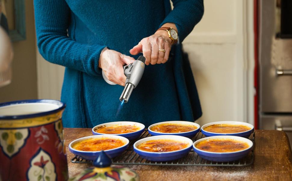 HENMI – Soplete flambeador Butano Quemador de Gas para la Cocina brenne Home Cocina de Negro para DIY, Crema catalana, postres, postres, hartlöten, ...