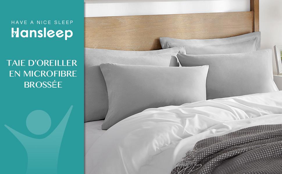 Taie d'oreiller en microfibre brossée à la tête du lit
