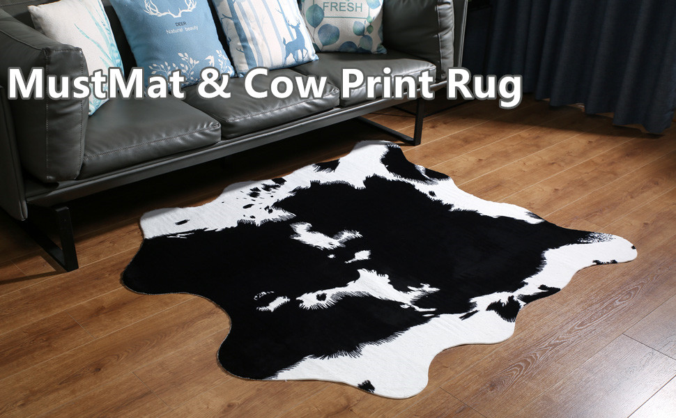 Mustmat Cute Cow Print Rug Black And White Faux Cowhide Rugs Animal Printed Area Rug Carpet For Home 5 2x4 6 Feet Home Kitchen