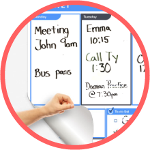 stick on adhesive dry erase whiteboard weekly agenda organizer planner peel and stick