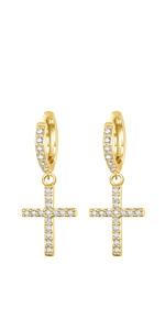 Huggie Hoop cross earrings