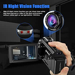ir night vision  Video Camera Camcorder with Microphone, VideoSky 42MP HD 1080P 30FPS Digital Recording Camcorders for YouTube 64 GB Memory Card Vlogging IR Night Webcam Time-Lapse Slow Motion,Touch Screen, Lens Hood 58ab754e 9add 4c87 b3b4 adfaf5d49e0b