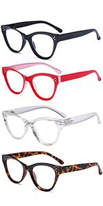 4-Pack Cateye Design Reading Glasses Oversized Readers for Women Reading