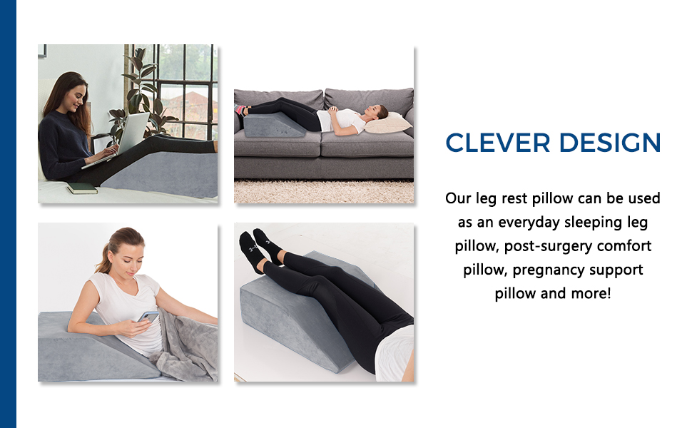 Elevated leg pillow has a clever design that can be used by everyone