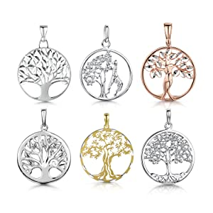 Amberta 925 Sterling Silver - Tree of Life Pendant for Women Family Protection Symbol