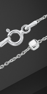 """Amberta 925 Sterling Silver 1.4 mm Trace Chain Bracelet Size with 3.2 mm Cube Beads 7"""" 7.5"""" 8"""" in"""