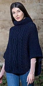 SAOL irish sweater poncho merino wool cable knit ladies women