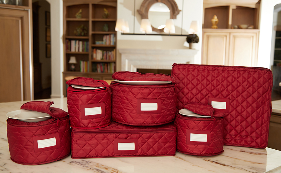 Set of red dish storage containers on a counter